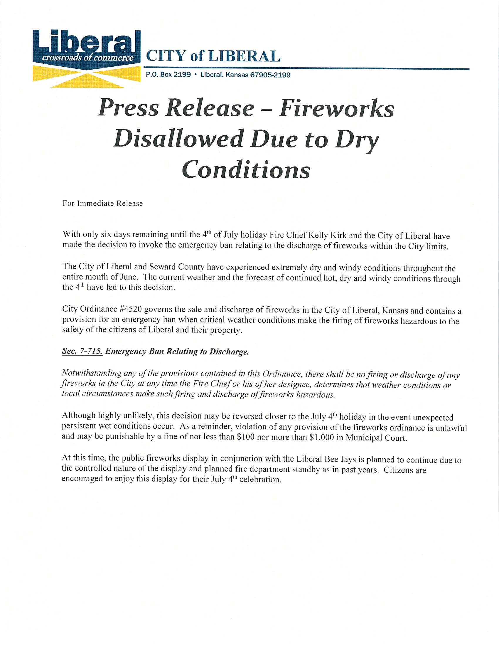 6-29-20 Ban Discharge of Fireworks