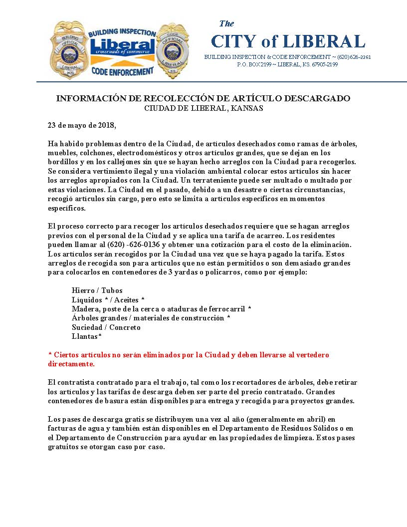 Dumping Information release Spanish