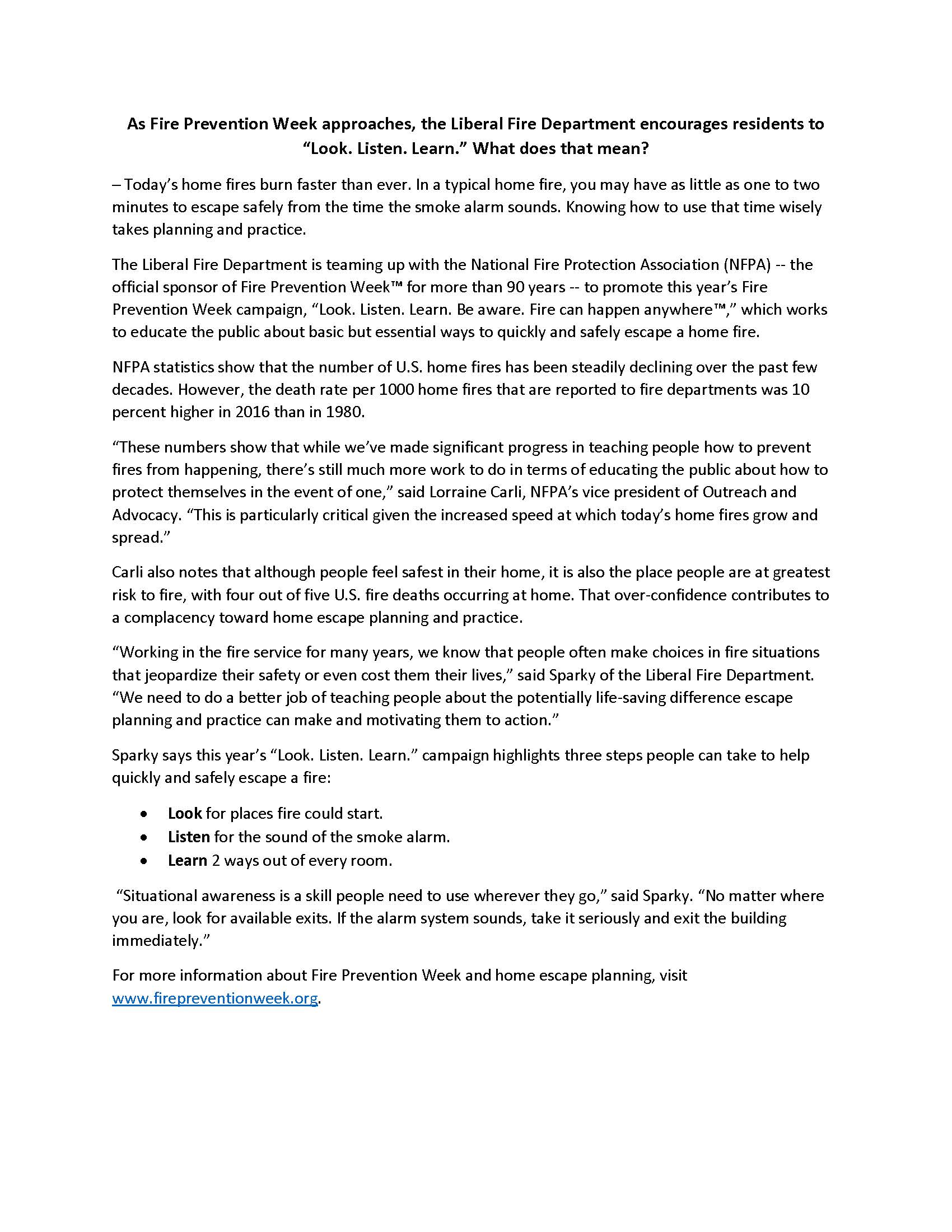 Fire Prevention Week Press Release
